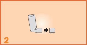 AeroChamber Plus Flow-Vu Anwendung für Kinder - Schritt 2