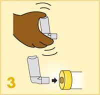 AeroChamber Plus Flow-Vu mit Kindermaske - Anwendung Schritt 3
