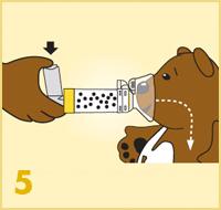 AeroChamber Plus Flow-Vu mit Kindermaske - Anwendung Schritt 5
