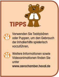 Tipps bei der Anwendung des AeroChamber Plus Flow-Vu für Kinder