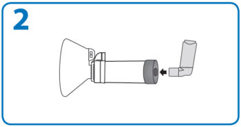 AeroChamber Anwendung mit Maske - Schritt 2