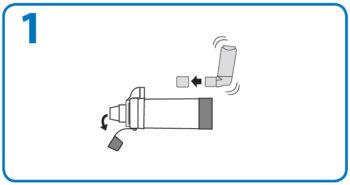 AeroChamber Anwendung mit Mundstück - Schritt 1