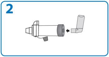 AeroChamber Anwendung mit Mundstück - Schritt 2