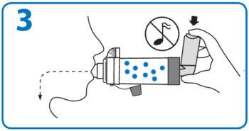 AeroChamber Anwendung mit Mundstück - Schritt 3